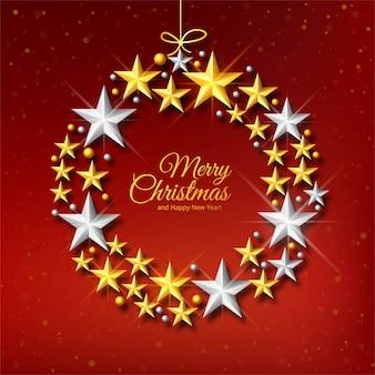 Tarjeta de celebración de bolas de navidad estrellas decorativas