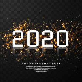 Tarjeta de celebración de brillos brillantes de año nuevo 2020