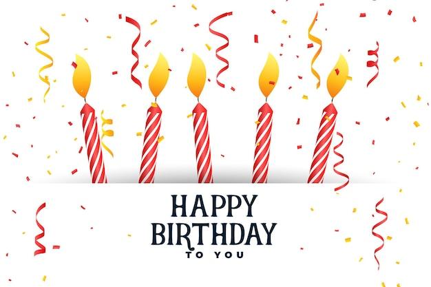 Tarjeta de celebración de cumpleaños feliz con velas y confeti
