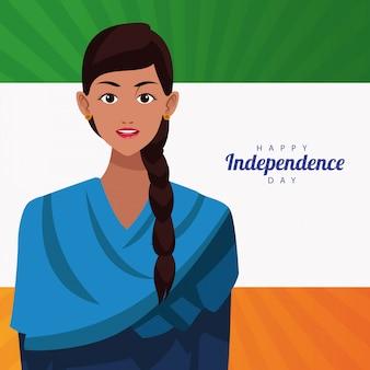 Tarjeta de celebración del día de la independencia feliz de india con mujer y bandera
