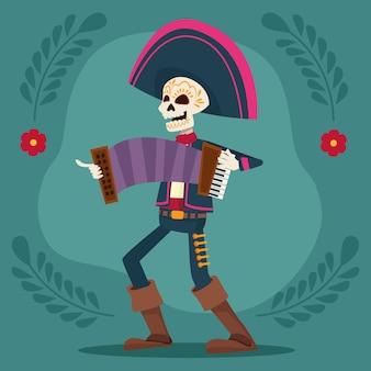 Tarjeta de celebración del día de los muertos con esqueleto de mariachi tocando el acordeón
