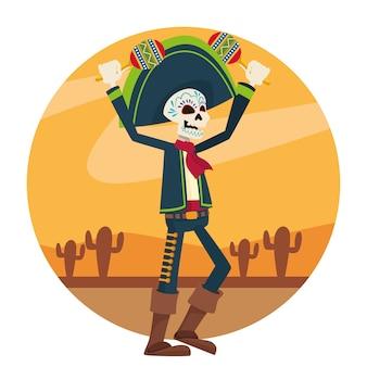 Tarjeta de celebración del día de los muertos con esqueleto de mariachi tocando maracas en el desierto