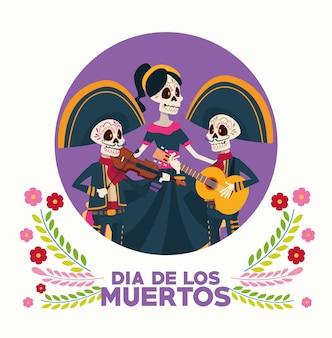 Tarjeta de celebración del día de los muertos con grupo de esqueletos y flores.