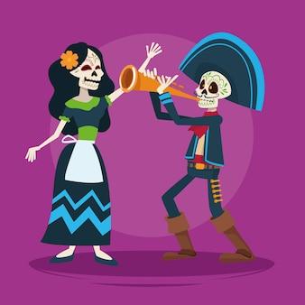 Tarjeta de celebración del día de los muertos con pareja de esqueletos y trompeta