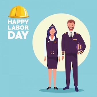 Tarjeta de celebración del día del trabajo usa