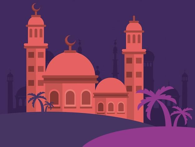 Tarjeta de celebración de eid mubarak con diseño de ilustración de vector de escena de edificio de mezquita