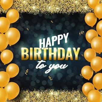 Tarjeta de celebración de feliz cumpleaños con destellos dorados brillantes, globos aerostáticos y cintas doradas sobre fondo oscuro