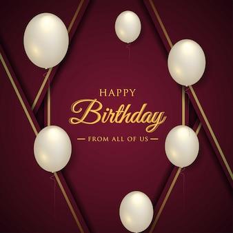 Tarjeta de celebración de feliz cumpleaños con globos realistas