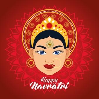 Tarjeta de celebración feliz navratri con hermosa diosa en fondo rojo