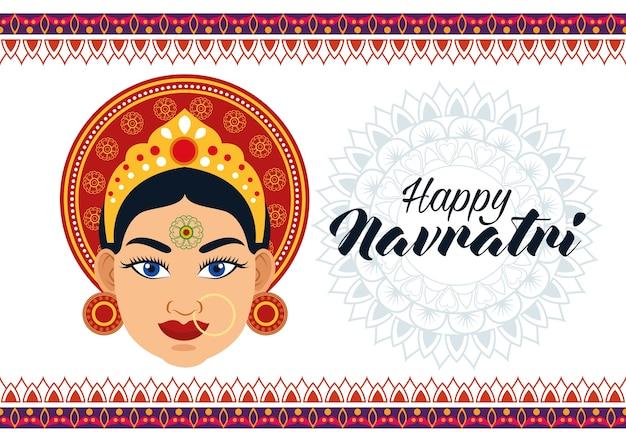 Tarjeta de celebración feliz navratri con hermosa diosa y letras