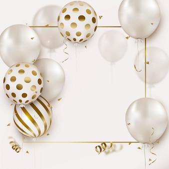 Tarjeta de celebración con globos de helio blanco, confeti volador en blanco