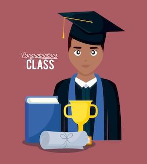 Tarjeta de celebración de graduación con niño graduado.
