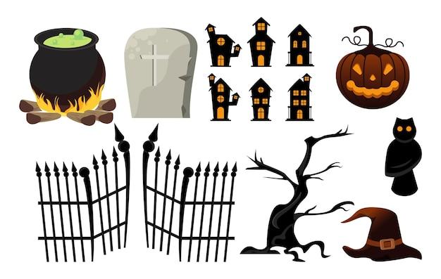 Tarjeta de celebración de halloween feliz con iconos de paquete.