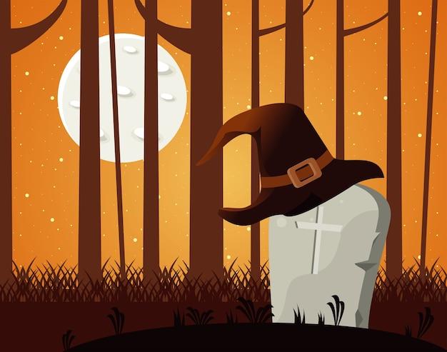 Tarjeta de celebración de halloween feliz con sombrero de tumba y bruja.