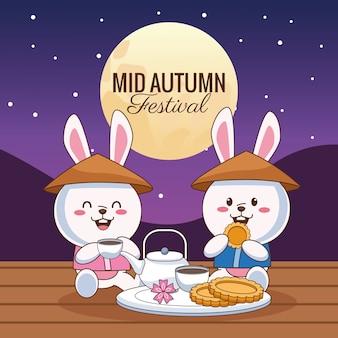 Tarjeta de celebración de mediados de otoño con conejitos par comer en la escena nocturna, diseño de ilustraciones vectoriales