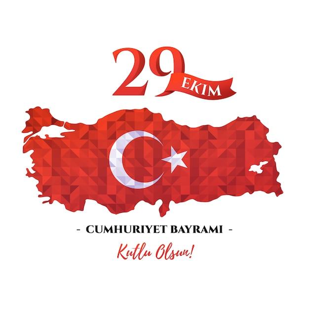 Tarjeta de celebración nacional del día de la república de turquía con mapa