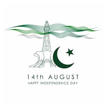 Tarjeta de la celebración pakistán día de la independencia