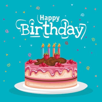 Tarjeta de celebración de pastel de feliz cumpleaños