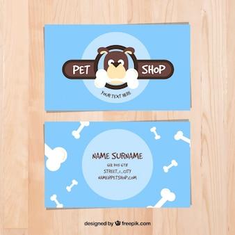 Tarjeta celeste de tienda de mascotas