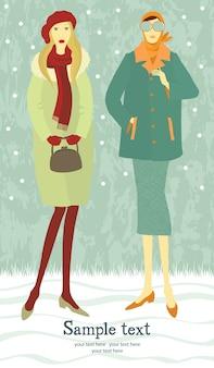 Tarjeta de chicas de invierno