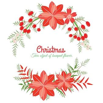 Tarjeta de chrismas y año nuevo. el objeto de dos flores es vector para objeto, marco y tarjeta. el objeto es la colección para navidad y año nuevo. el vector no es rastrear ni copiar imagen.