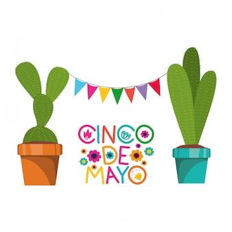 Tarjeta de cinco de mayo con cactus en tarjeta blanca