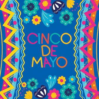 Tarjeta de cinco de mayo con marco floral y textura.