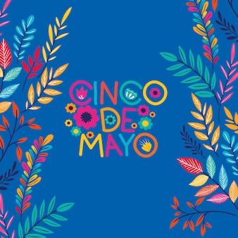 Tarjeta de cinco de mayo con marco floral.