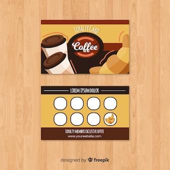 Tarjeta de cliente de cafetería con estilo moderno