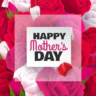 Tarjeta de color del día de las madres con rosas blancas rojas y ilustración del titular del día de las madres felices