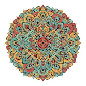 Tarjeta colorida de adorno con mandala
