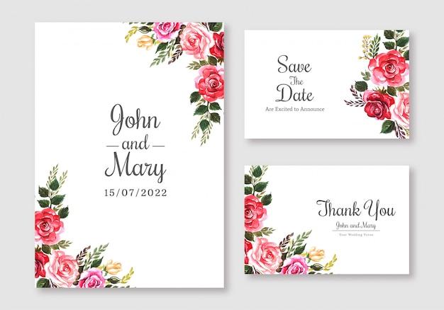Tarjeta colorida de flores de boda establece fondo de plantilla