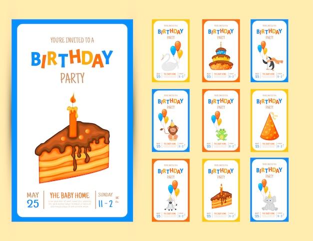 Tarjeta colorida de la invitación del partido con animales lindos y artículos en un fondo blanco