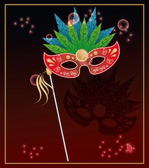 Tarjeta colorida de la máscara de la hierba del carnaval