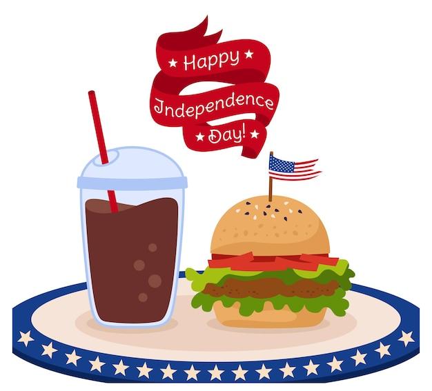 Tarjeta de comida rápida con bandera del día de la independencia americana, hamburguesa de cinta y taza de café para llevar la bandera de ee.uu.