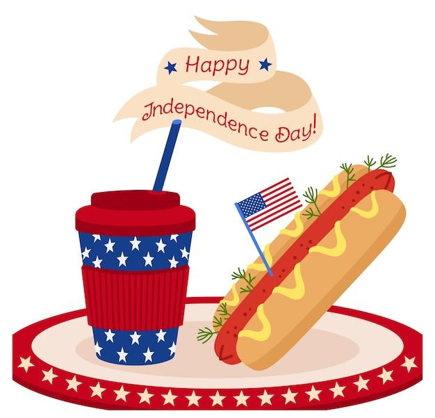 Tarjeta comida rápida día de la independencia americana, bandera y cinta taza café para llevar y perrito caliente y taza de papel