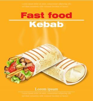 Tarjeta de comida rápida shawarma kebab