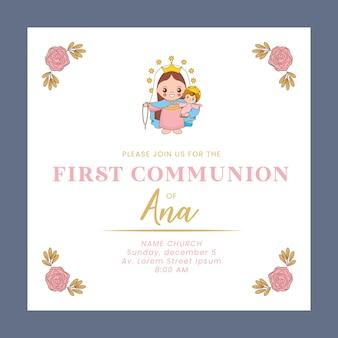 Tarjeta de comunión de firth con dibujos animados de santa maría