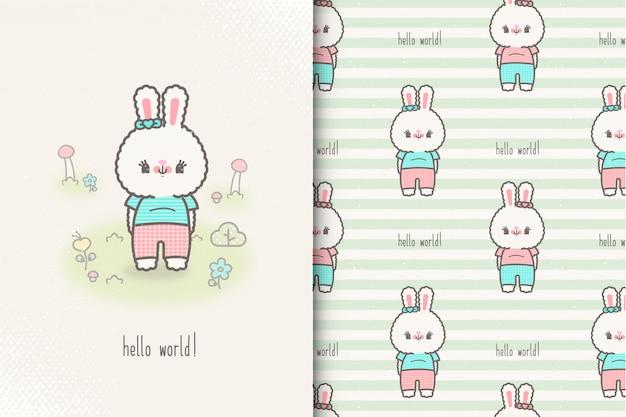 Tarjeta de conejito bebé y patrones sin fisuras. ilustración de niños con lindo fondo