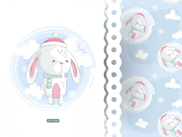 Tarjeta de conejo lindo con patrón