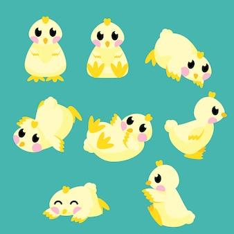 Tarjeta de conjunto de iconos animales de bebé lindo
