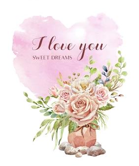 Tarjeta de corazón acuarela y rosa en maceta