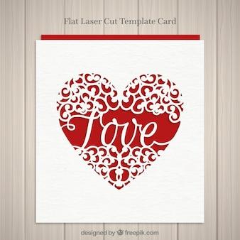 Tarjeta de corazón con la palabra amor