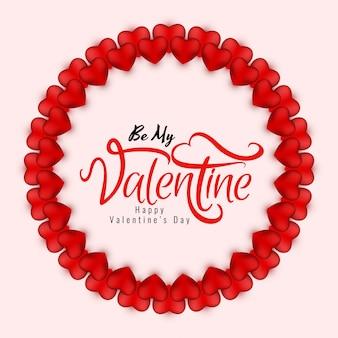 Tarjeta de corazones rojos abstractos feliz día de san valentín