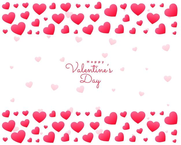 Tarjeta de corazones de san valentín sobre fondo blanco.