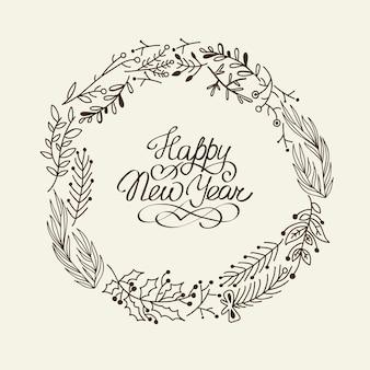 Tarjeta de corona de feliz año nuevo monocromo con elementos tradicionales