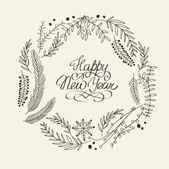 Tarjeta de corona de feliz año nuevo monocromo con ramas