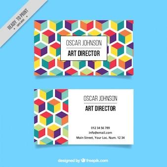 Tarjeta corporativa hexagonal colorida