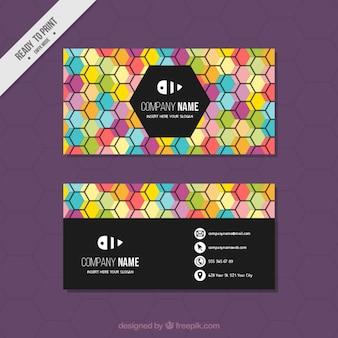 Tarjeta corporativa con hexágonos de colores