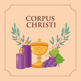 Tarjeta de corpus christi, cáliz de uvas y velas